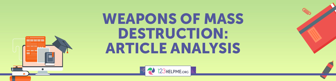 Weapons of Mass Destruction Article Analysis