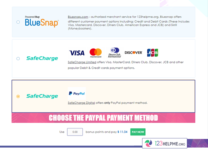 123HelpMe PayPal Payment Step 3